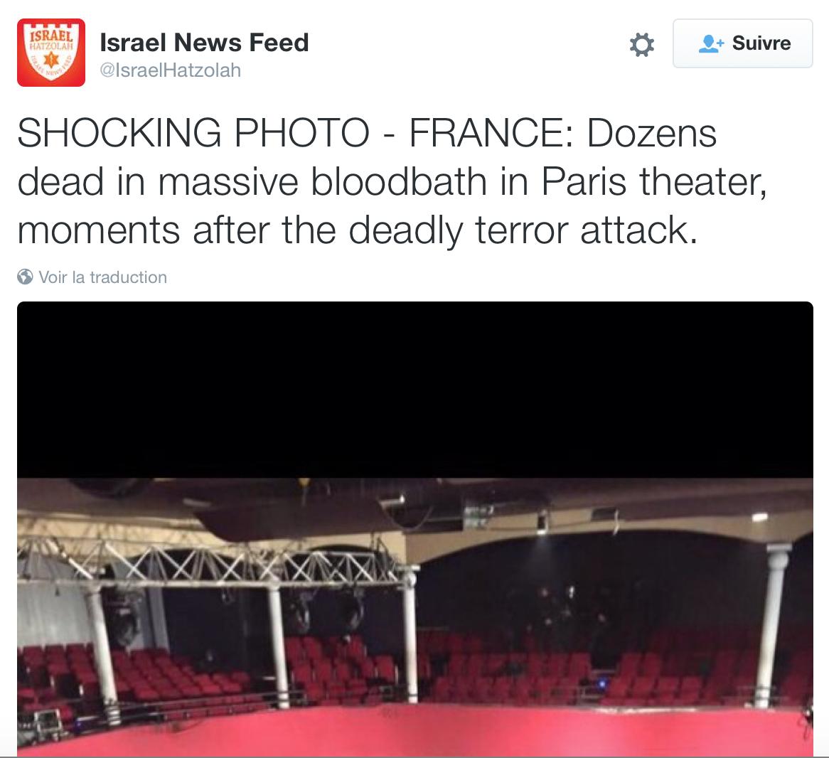 {J} Carnage au Bataclan : la photo-choc a été diffusée depuis Jérusalem
